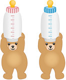 Teddy bears holding pink and blue bottle milk