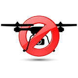 Quadcopter flights prohibited sign - silhouette of drone