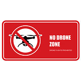 No drone zone sign - quadcopter flights prohibited