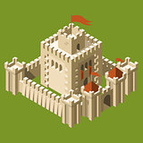 Isometric medieval castle with fortified wall and towers
