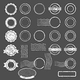 Set of postal stamps blank templates