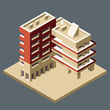 Modern isometric building made as corner - office block
