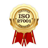 ISO 27001 standard certified rosette - Information security mana