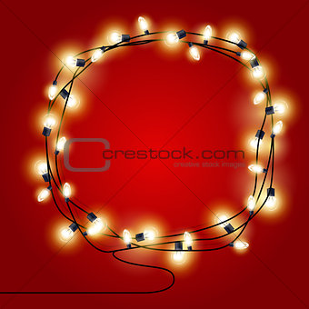 Frame of shining Christmas Lights garlands - new year poster