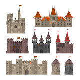 Medieval castles, fortresses and strongholds with fortified wall