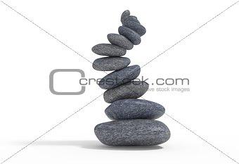broken balancie falling stones set 3d illustration