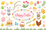 Happy Easter collection object, design element.  spring set with cake, basket, eggs, bunny, flowers, nestlings and more. Vector illustration, clip art.