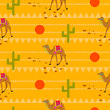 Desert camels in sands seamless pattern.