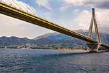 Cable-stayed suspension bridge crossing Corinth Gulf strait, Greece
