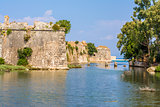 Moat and walls of the Venetian Castle of Agia Mavra - Greek island of Lefkada