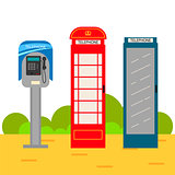 Telephone booth cartoon set.