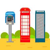 Telephone booth cartoon set.