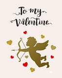 Card with cupid and hearts