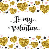 Valentine background with golden hearts