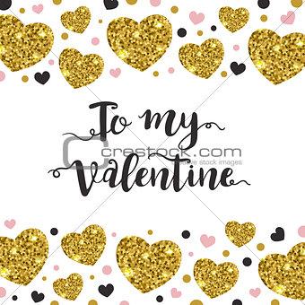 Valentine background with golden hearts