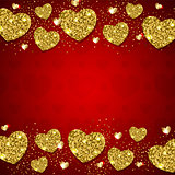 Golden hearts on a red background