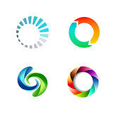 Different Round Circle Sign Logo Set