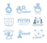 Chemical Laboratory Facility Logo Graphic Design Templates Set In Light Blue Color With Test Tubes Silhouettes