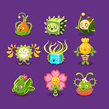 Childish Alien Fantastic Alive Plants Emoji Characters Set Of Vector Fantasy Vegetation