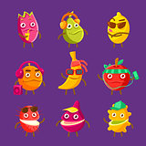 Tropical Fruit Cool Cartoon Characters On Vacation Set Of Colorful Stickers With Humanized Food Items