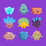 Alien Fantastic Golem Characters Of Different Humanized Rocks With Friendly Faces Emoji Stickers Collection