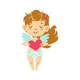 Girl Baby Cupid Holding A Heart, Winged Toddler In Diaper Adorable Love Symbol Cartoon Character
