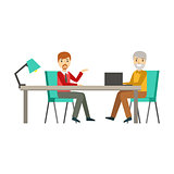 Colleagues Discussing Work At Table, Coworking In Informal Atmosphere In Modern Design Office Infographic Illustration