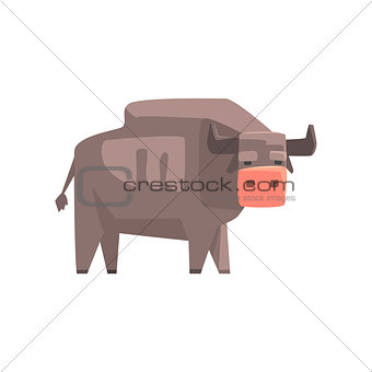 Grey Bull, Toy Simple Geometric Farm Cow Browsing, Funny Animal Vector Illustration