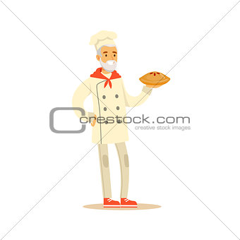 Old Man Professional Cooking Chef Working In Restaurant Wearing Classic Traditional Uniform Holding A Pie Cartoon Character