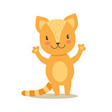 Little Girly Cute Red Kitten Stansing, Cartoon Pet Character Life Situation Illustration