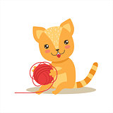 Red Little Girly Cute Kitten Playing With Clew Ball, Cartoon Pet Character Life Situation Illustration