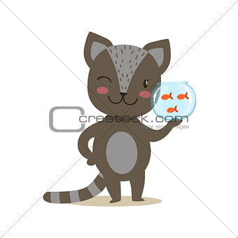 Black Little Girly Cute Kitten Holding Aquarium With Fish, Cartoon Pet Character Life Situation Illustration