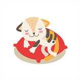 Multicolor Little Girly Cute Kitten Sleeping On A Pillow, Cartoon Pet Character Life Situation Illustration