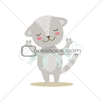 Grey Little Girly Cute Kitten With Paper Garland On String, Cartoon Pet Character Life Situation Illustration