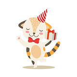 Dancing Little Girly Cute Kitten With Birthday Present Wearing A Party Hat, Cartoon Pet Character Life Situation Illustration