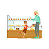 Kid And His Grandma Choosing Pastry To Buy From The Bakery Shop Assortment Vector Illustration