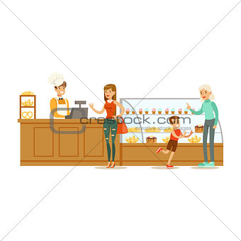 Clients Choosing And Buying Pastry At The Cashier Of The Bakery Shop Vector Illustration