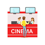 Guy Buying Cinema Tickets Whom Cashiers Counter, Part Of Happy People In Movie Theatre Series