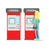 Woman Buying Tickets In Cinema Automatic Vending Machine, Part Of Happy People In Movie Theatre Series