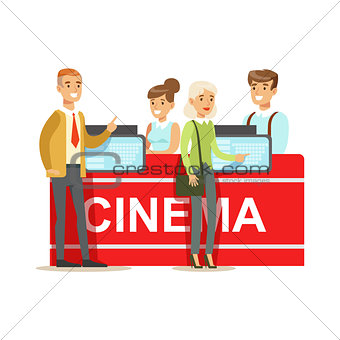Cinema Visitors Buying Tickets At Counter, Part Of Happy People In Movie Theatre Series