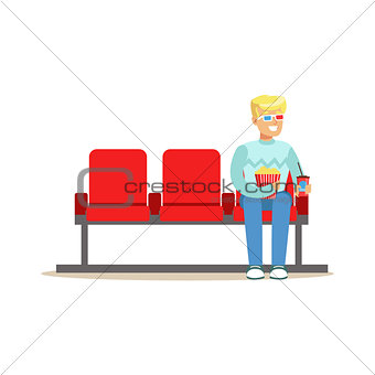 Blond Guy Sitting In Cinema Room Alone With 3D Glasses, Part Of Happy People In Movie Theatre Series