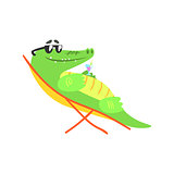 Crocodile Sunbathing On Sunbed With Cocktail, Humanized Green Reptile Animal Character Every Day Activity
