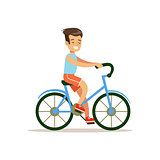 Boy Riding Bicycle, Traditional Male Kid Role Expected Classic Behavior Illustration
