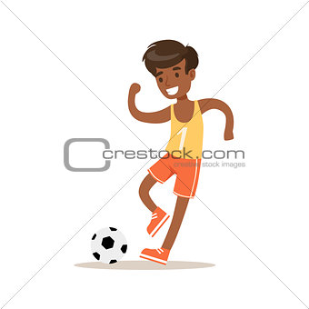 Boy Playing Football, Traditional Male Kid Role Expected Classic Behavior Illustration