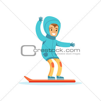 Boy Snowboarding, Traditional Male Kid Role Expected Classic Behavior Illustration