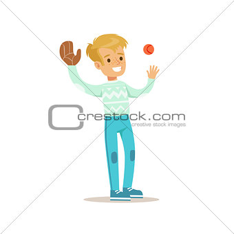 Boy Playing Baseball, Traditional Male Kid Role Expected Classic Behavior Illustration