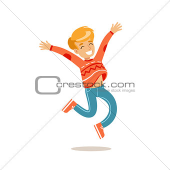 Boy Jumping, Traditional Male Kid Role Expected Classic Behavior Illustration