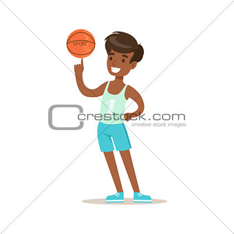 Boy Wisth Basketball Ball, Traditional Male Kid Role Expected Classic Behavior Illustration