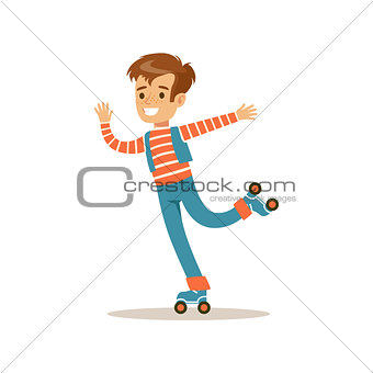Boy Roller Skating, Traditional Male Kid Role Expected Classic Behavior Illustration