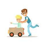Boy And His Dad Playing Toy Car, Traditional Male Kid Role Expected Classic Behavior Illustration